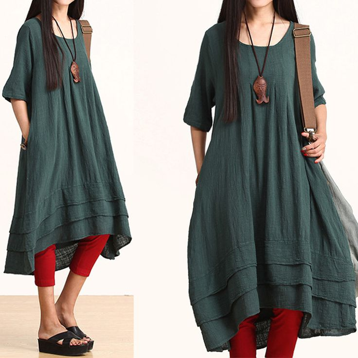 Summer 2014 Fashion Cotton Linen Dress For Women Half Sleeve Pockets O-Neck Loose Waist Big Bottom A-Line One-Piece Solid Color $64.00