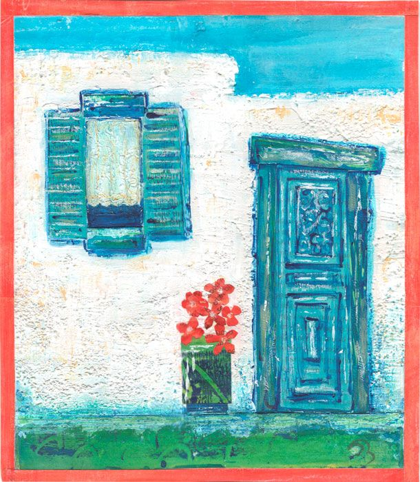 Village Doorway - mixed media painting by Gill Tomlinson