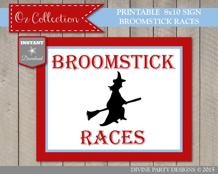INSTANT DOWNLOAD Wizard of Oz 8x10 Broomstick Races Sign / Printable DIY / Game Sign / Oz Collection / Item #114 by DivinePartyDesign on Etsy