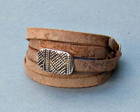 Boho Men's Leather Wrap Bracelet Cuff Unisex Bracelet by GUSFREE