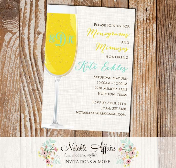 recipe themed bridal shower invitation wording%0A Monograms and Mimosas Bridal Shower Brunch Couples Shower Party Invitation