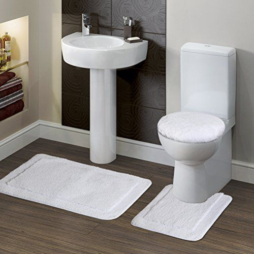 "Buy Lifewit Soft 3 Piece Bath Toilet Mat Set 20""x32"" Bath Mat, 20""x20"" Contour Mat, 15""x15"" Lid Cover White - Reviewhomkit.com ✓ FREE DELIVERY possible on eligible purchases"