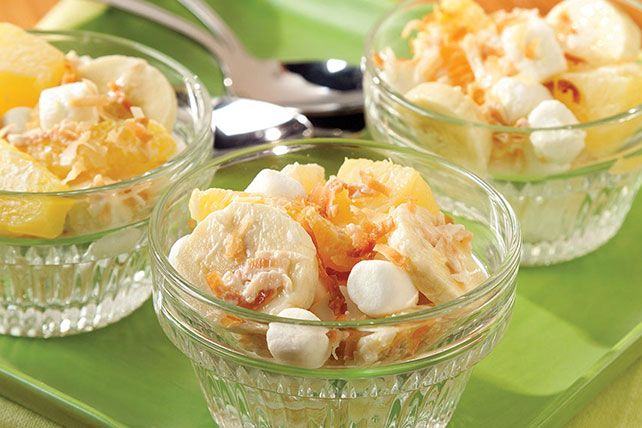 Toss mini marshmallows with banana slices, orange sections, flaked coconut and sour cream for a delicious ambrosia recipe. Try our Tropical Ambrosia Salad for a heavenly side salad that's sure to win rave reviews from friends and family alike.