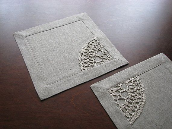 Set of 4 linen table napkins square tablemat by LinenBloomShop