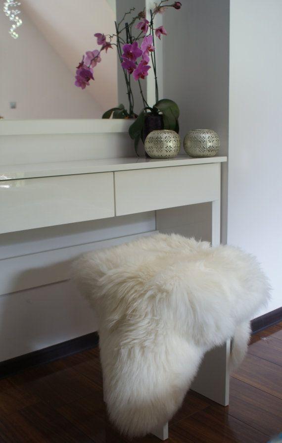 REGULAR SHEEPSKIN  White Throw Genuine leather by TrendingSlippers
