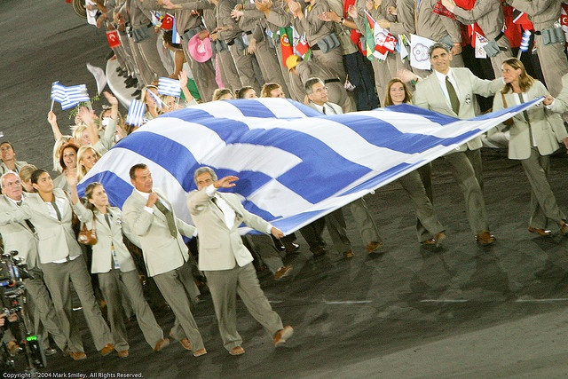 Greek Flag and athletes entering the Olympic Stadium, Opening Ceremony by mark_smiley, via Flickr
