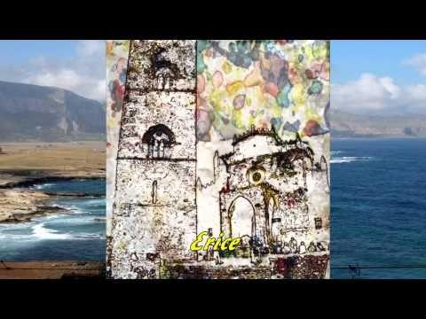 Località della Sicilia dipinte in stile watercolor abstract (astrattismo...