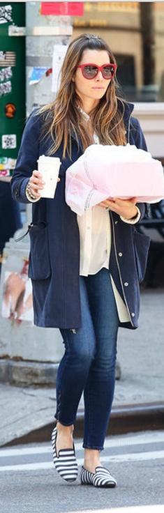 Jessica Biel (Dolce & Gabbana glasses, Tod's shoes)