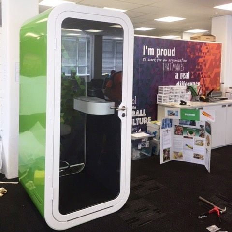 A Bright Green Framery O Phone Booth Installed At Wise Group In Wellington  Today! #