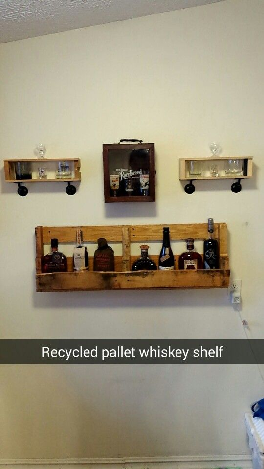 """Recycled pallet whiskey shelf. Old Booker Bourbon boxes made into rocks glass shelves. Rare Breed box as Pint Glass """"cabinet"""""""
