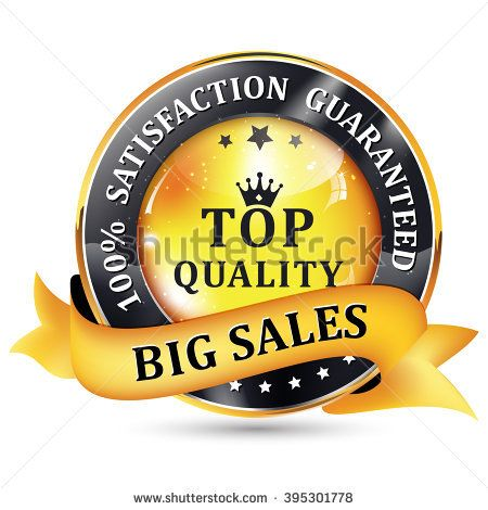 Big Sales. Satisfaction guaranteed. Top Quality. Black Yellow glossy shiny icon / button with ribbon.