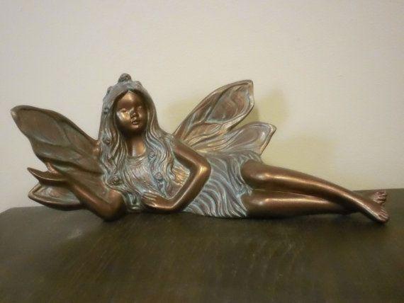 GARDEN FAIRY Hand+Painted+Ceramic+Bronze+Fairy+Garden+Ornament+