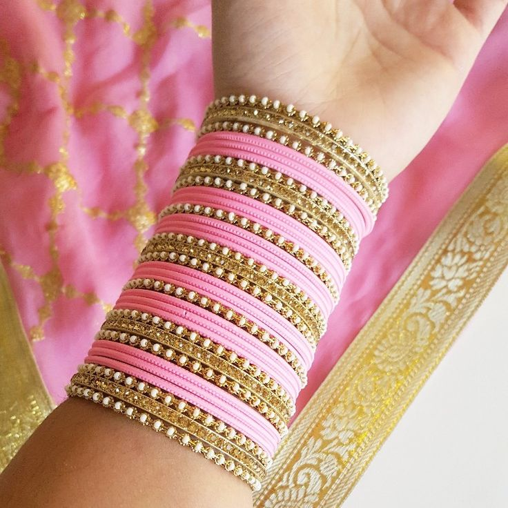 Fit for a Princess! 👸 Shop our new Baby Pink and Gold Bangle Set!