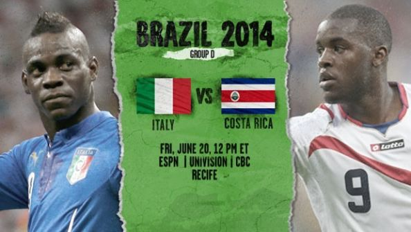 FIFA World Cup Group D Italy vs Costa Rica at  Recife, Friday, June 20, 13:00 (AEST).  Italy Thiago Motta wants to treat their FIFA World Cup Group D clash with Costa Rica as a final. Paris Saint-Germain midfielder wide leans in the midfield instead of Marco Verratti club-mate Friday.