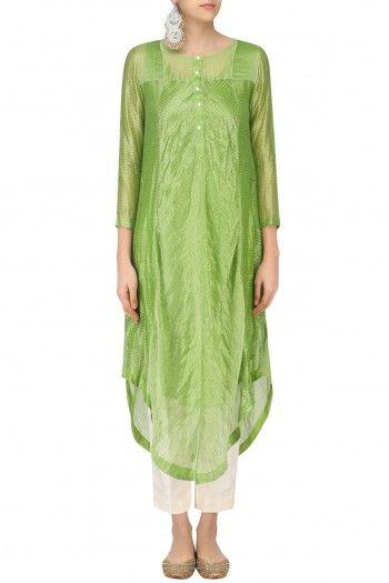 Sloh Designs Green Stripes Play Asymmetric Kurta #happyshopping #shopnow #ppus