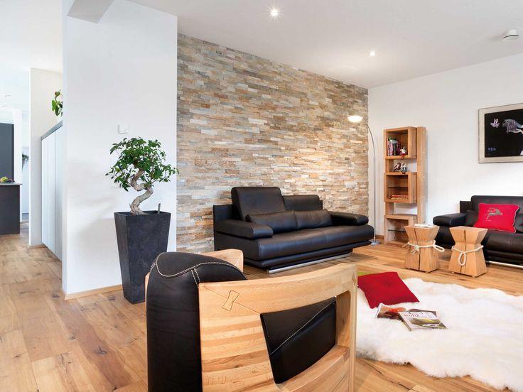 Holzdielenboden Im Wohnzimmer Und Wand Aus Steinen