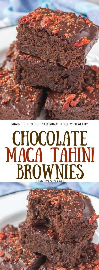 Fudgy dark Chocolate Maca Tahini Brownies with melted chocolate glaze topped with chopped goji berries are beyond delicious. Made with WHOLESOME ingredients, refined sugar-free, whole grain and packed with powerful antioxidants these brownies are perfect guilt-free dessert to enjoy. #brownies #chocolate #tahini #maca #superfoods #healthyrecipe #healthy #weighlossrecipe #healthydesserts   NATALIESHELATH.com