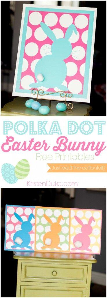 Polka Dot Easter Bunny Free Printable, fun to decorate the Easter table // KristenDuke.com