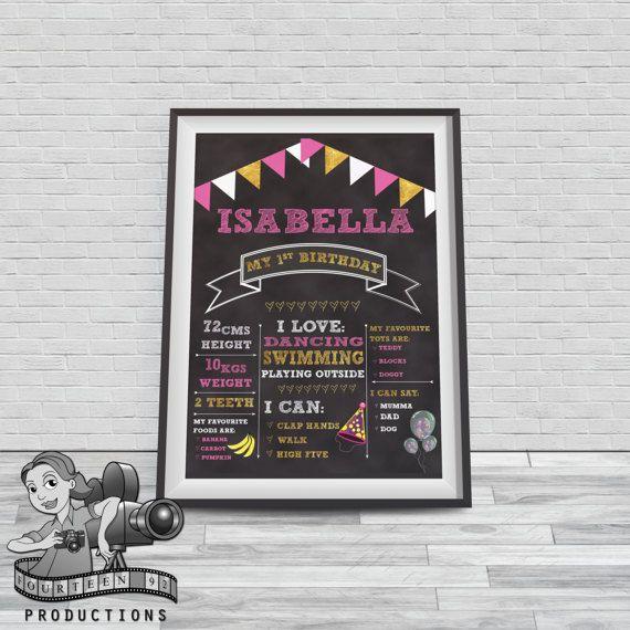 Pink & Gold Chalkboard Milestone Poster by fourteen92prod on Etsy