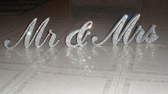 Swarovski Crystal MR & MRS standing sign by AllDesignsThatShine, $59.95