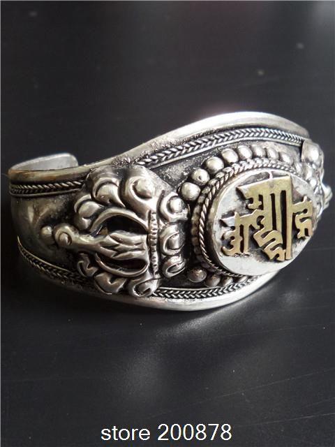 ВВ-351 Тибетское серебро КАЛАЧАКРА мантры амулет браслет Непал Ручной старинные ювелирные изделия Мужчина