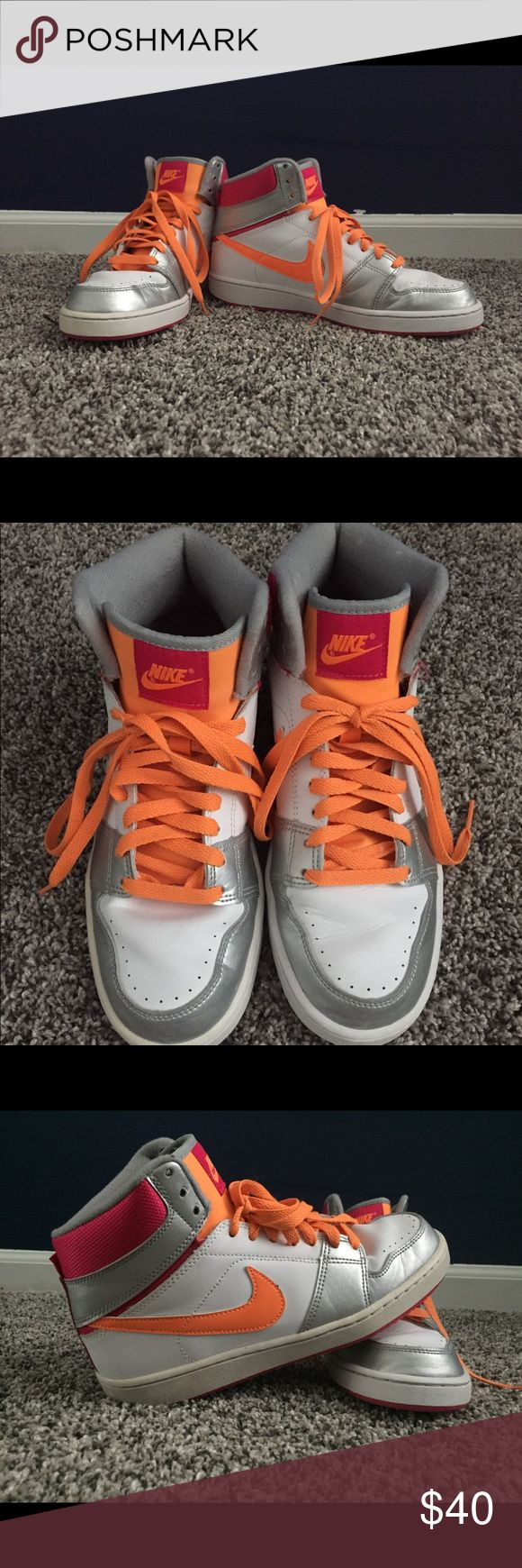 Nike high top basketball shoes Ladies Nikes, High top Basketball shoes. Never been worn outside! No scuffs, marks, or stains. Nike Shoes Athletic Shoes