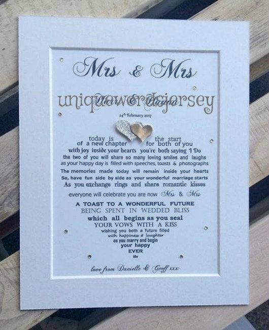 Check out this item in my Etsy shop https://www.etsy.com/uk/listing/489728227/lesbian-wedding-gift-lesbian-couple-mrs