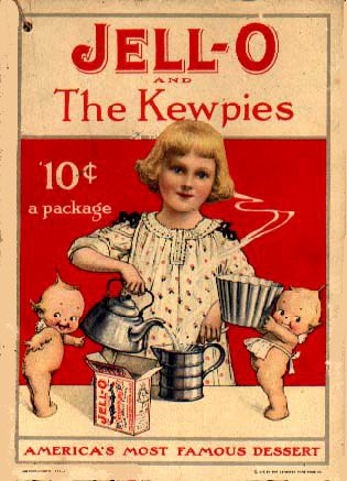 Jello recipe pamphlet featuring Rose O'Neill kewpies