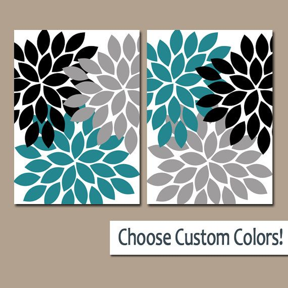Teal Black Gray Flower WALL Art, Flower CANVAS Or Prints