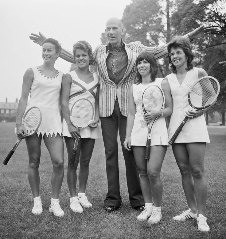 Designer Ted Tinling With Tennis Players, 1973