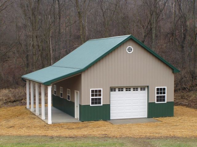 Burly oak builders 24 39 x 32 39 x 12 39 with lean to porch for Pole barn home builders