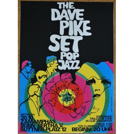 ultra rare silkscreen printed concert poster from the late 1960s..artwork & print by roland korndörffer...