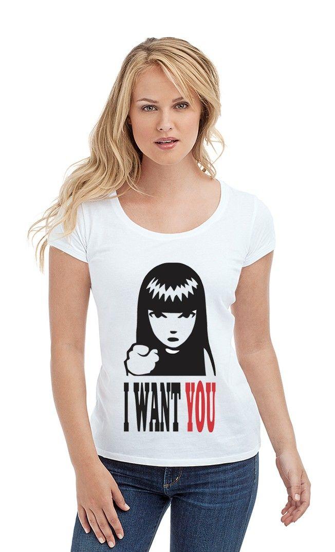 Футболка I WANT YOU. Женские футболки прикольные с надписями и принтами.
