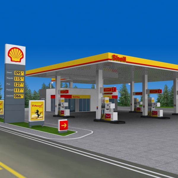 shell gas station day 3d model | Petrol station design