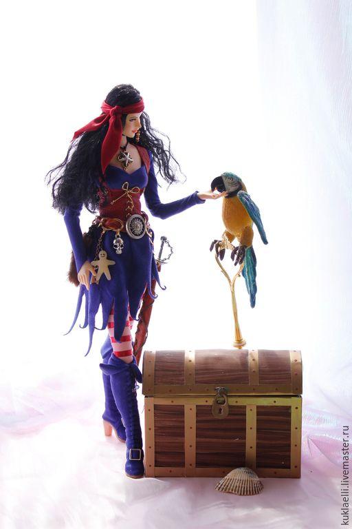 Купить Кукла Ведьма -пиратка - ведьма, пиратка, кукла, морская, волшебница, подвижная кукла, колдунья