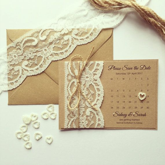 Sample // Rustic Lace Save the Date by ExquisitelyElegantUK