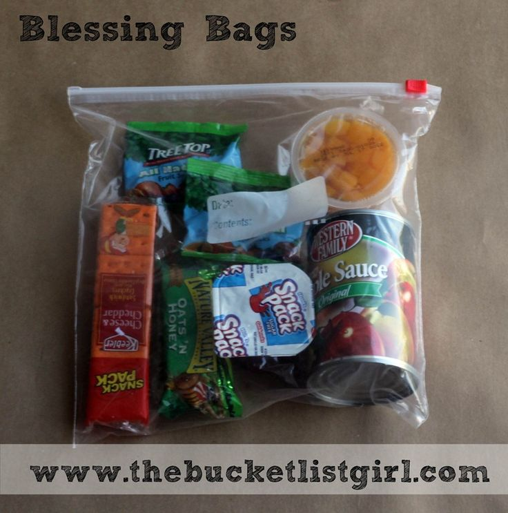 blessing bag for the homeless. Keep them in your car for those you find on the street corners.