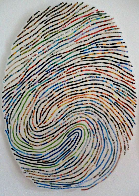 thumbprint art... blow up image of child's thumbprint to use as a guide and overlay with either paint, yarn or pipe-cleaners. Connection with self identity!    Want to do this and hang it on my wall :)