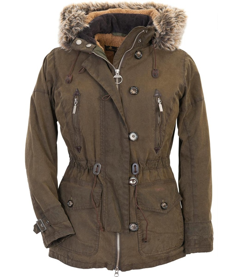 Womens Barbour Vintage Troop Waxed Parka Jacket Olive