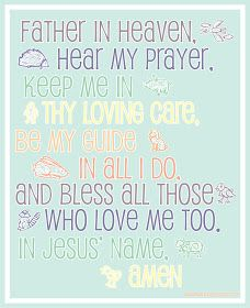 Printable Child's Prayer: Frame for a child. It would be sweet gifted with a pillowcase or a pair of jammies.