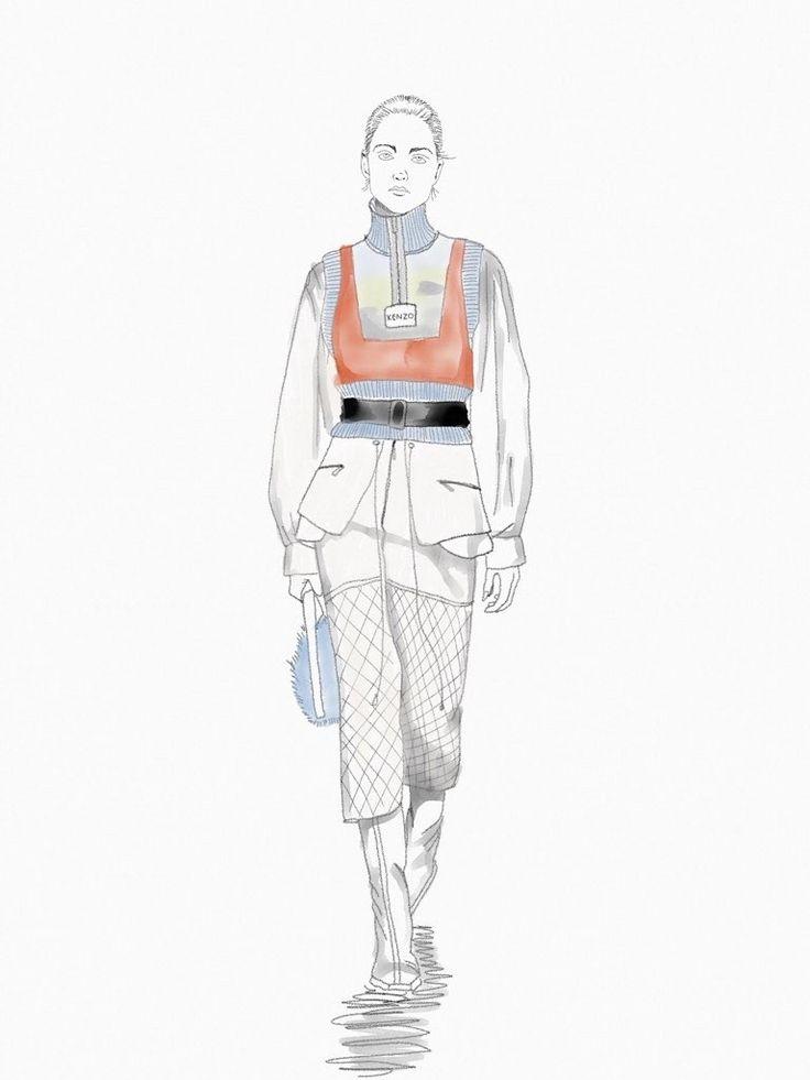 Kenzo fashion illustration by @theheadhunt #kenzoillustration #kenzo #runway #watercolorillustration #ipadpro #sketchespro