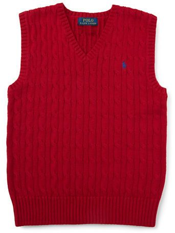 Ralph Lauren Childrenswear Boys 8-20 Cable Knit Sweater Vest