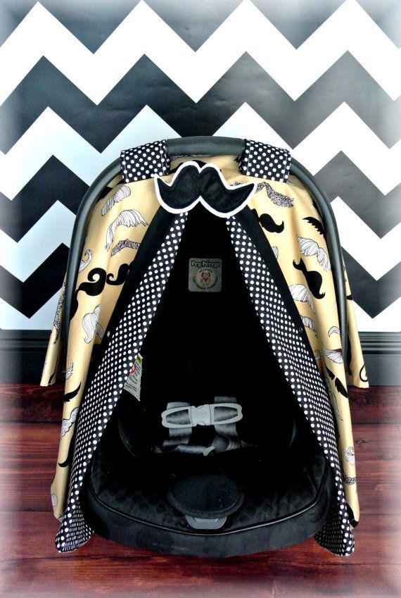Taupe Mustache Carseat Canopy Car Seat Cover By