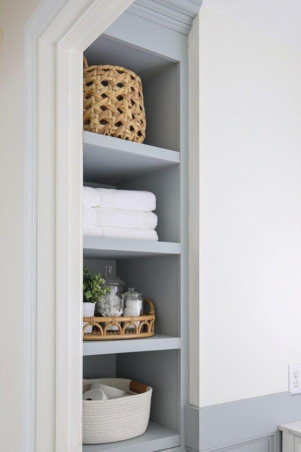 Diy Built In Bathroom Shelves And Cabinet Smallbathroomstorage