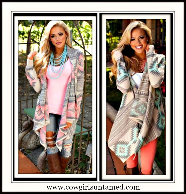 COWGIRL GYPSY SWEATER Allover Tribal Knit Long Sleeve Asymmetric Hem Western Cardigan  #tribal #aztec #western #cowgirl #gypsy #pastel #cardigan #asymmetrical #highlow #sweater #open #lightweight #clothing #fashion #beautiful #trendy #boutique #longsleeve