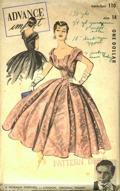 Advance 110, Norman Hartnell - London, Original Design from the Celanese International Collection of Couturier