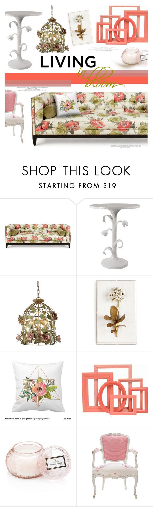 """""""Living in Bloom"""" by stacey-lynne ❤ liked on Polyvore featuring interior, interiors, interior design, home, home decor, interior decorating, Old Hickory Tannery, Tommy Mitchell, Voluspa and Antique"""