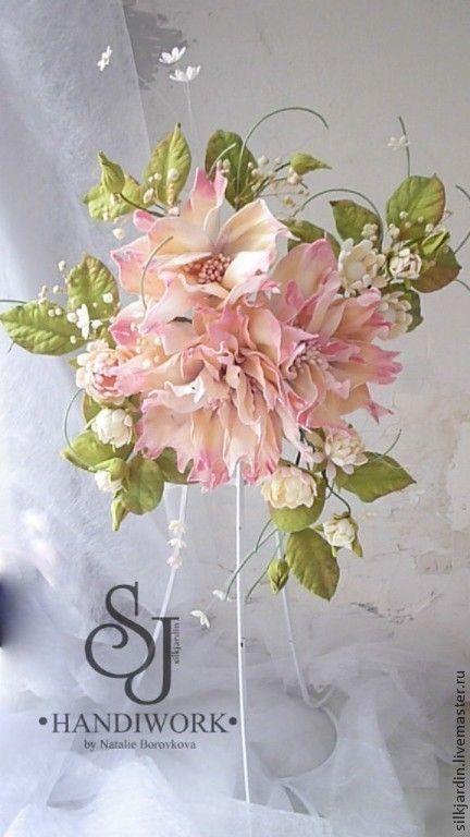 """Купить ЦВЕТЫ ИЗ ФОАМИРАНА Декор для штор подхват """"Барокко"""" - бледно-розовый, декор для интерьера"""
