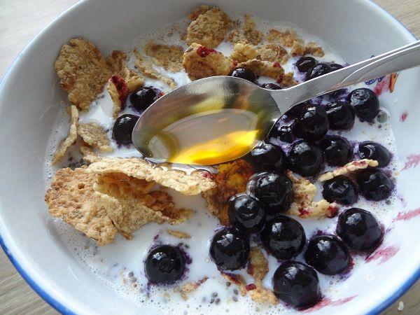 Muesli maison: -pétales de maïs nature -flocon de son d'avoine -graines de chia -myrtilles congelées -miel de châtaigne