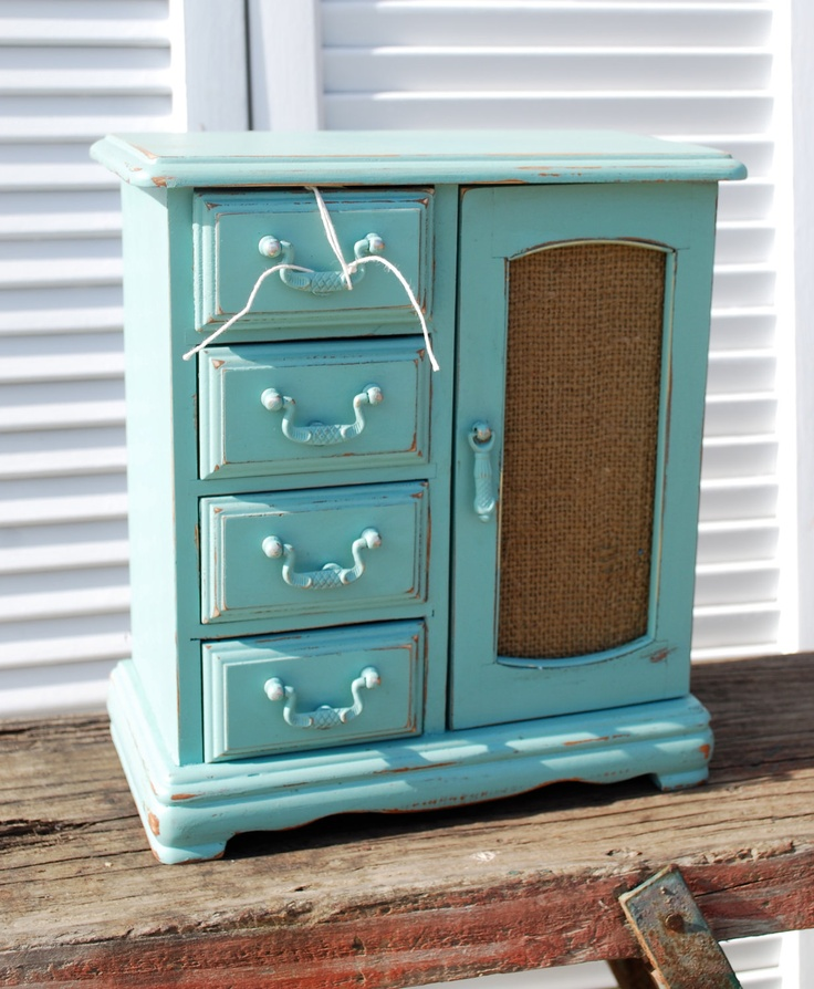 Vintage jewelry box painted tiffany blue and has by Chicstaging, $39.99